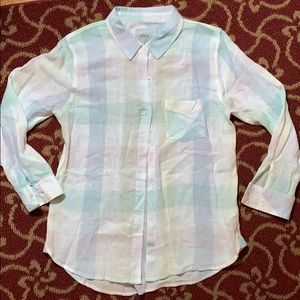 Light flannel colored button down